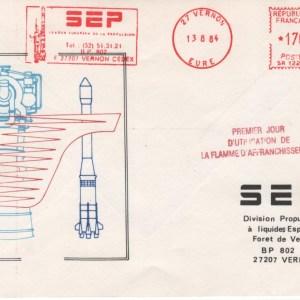 004 - Divers : SEP Vernon 1er jour d'utilisation Flamme d'entreprise 13 Aout 1984