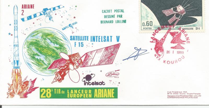 Numérisation 20191222 - Kourou (Guyane) Lancement Ariane 2 – Vol 28 - 26 Janvier 1989 (Enveloppes  Club ESA - Lollini)