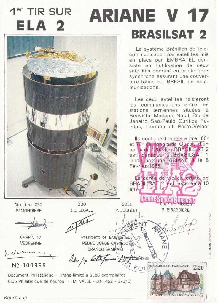 V17 Ariane3 Brasilsat - Kourou - Lancement Ariane 3 Vol 17 - 2 Encarts du 28 Mars 1986