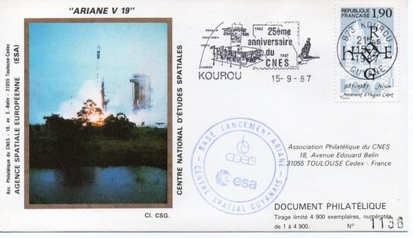 img20191207 16524376 - Kourou (Guyane) Lancement Ariane 3 – Vol 19 - 15 Septembre 1987 (Pochette CNES)