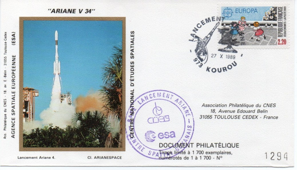 img20191216 14442891 - Kourou (Guyane) Lancement Ariane 4 - 44L – Vol 34 - 27 Octobre 1989 (2 Enveloppes  CNES )