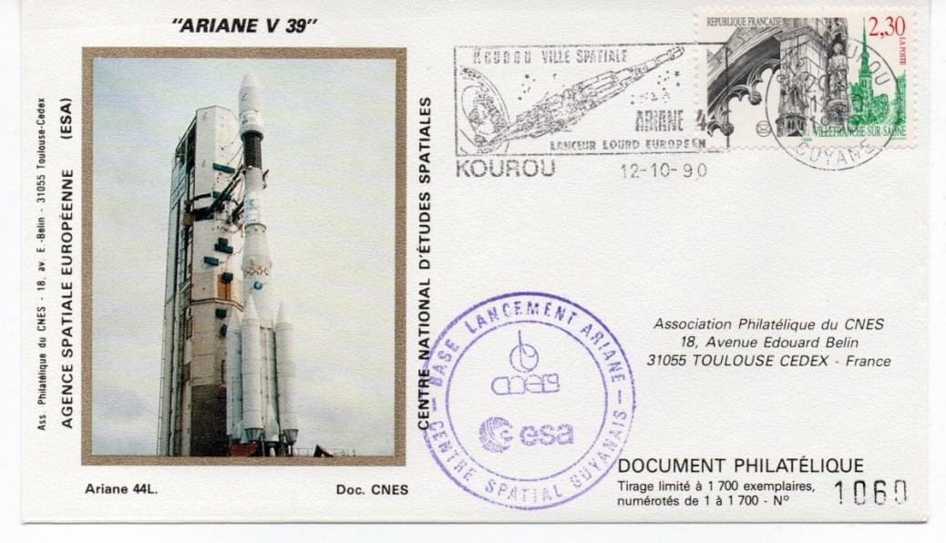 img20191216 14463171 - Kourou (Guyane) Lancement Ariane 4 - 44L – Vol 39 - 12 Octobre 1990 (3 Enveloppes  CNES )