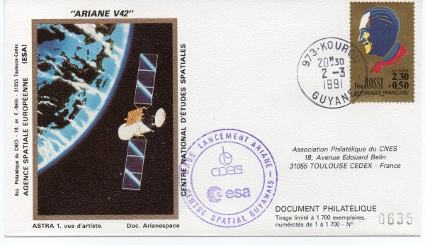 img20191216 14494576 - Kourou (Guyane) Lancement Ariane 4 - 44LP – Vol 42 - 02 Mars 1991 (2 Enveloppes  CNES )