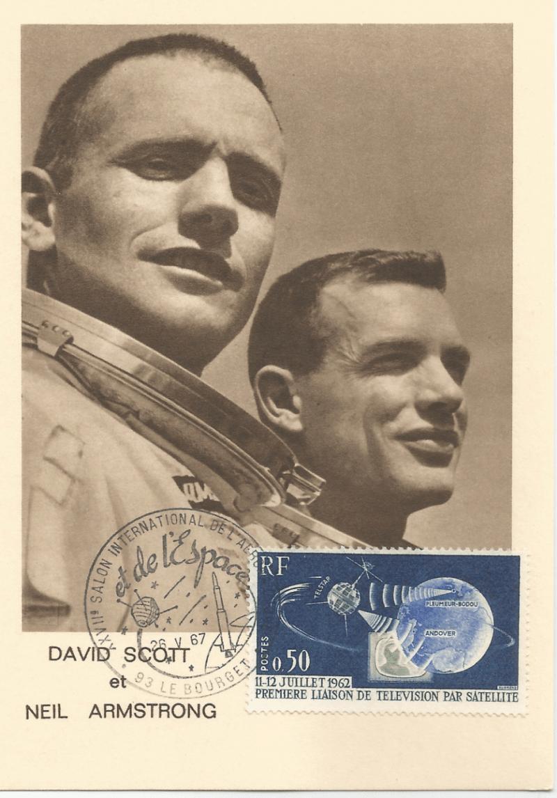 Numérisation 20191222 16 - 27ème Salon du Bourget 26 Mai 1967 - Carte Postale équipage Gémini 8