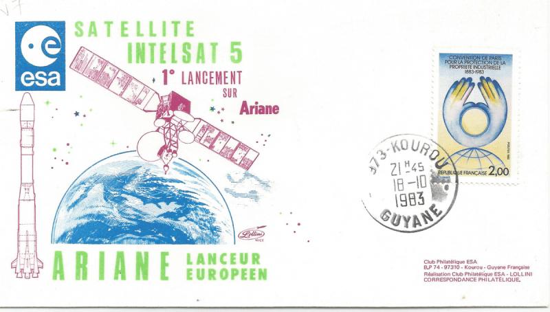 Numérisation 20191222 27 - Kourou (Guyane) Lancement Ariane 1 – Vol L7 - 18 Octobre 1983 (Enveloppe Club ESA - Lollini)