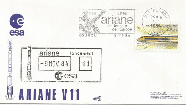Numérisation 20191222 30 - Kourou (Guyane) Lancement Ariane 3 – Vol 11 - 09 Novembre 1984 (Enveloppe Club ESA - Lollini (CàD Secap)