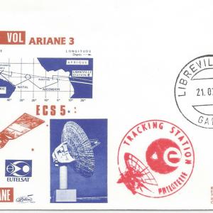 Numérisation 20191222 32 - Station Suivi Radar - Libreville Gabon - Ariane 3 – Vol 24 - 21 Juillet 1988 (Enveloppe Club ESA - Lollini)