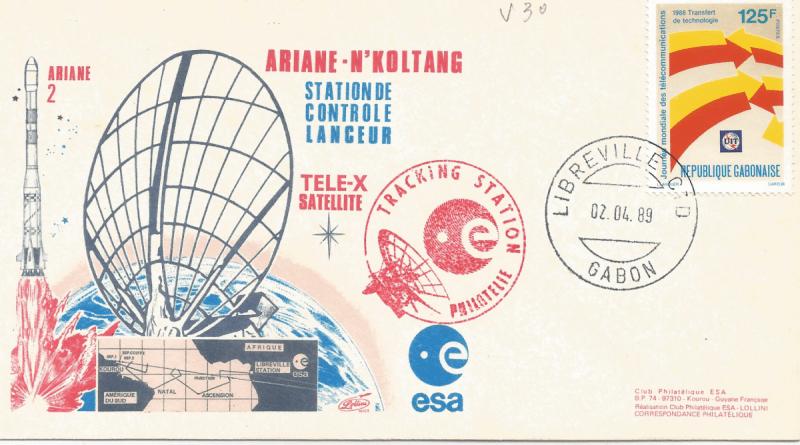 Numérisation 20191222 36 - Station de poursuite Radar de Libreville Gabon Lancement Ariane 2 – Vol 30 - 02 Avril 1989 (Enveloppe Lollini) - C4