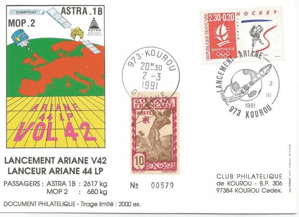 Numérisation 20191222 52 - Kourou (Guyane) Lancement Ariane 4 - 44LP – Vol 42 - 02 Mars 1991 (Cartes Club Phila de Kourou)