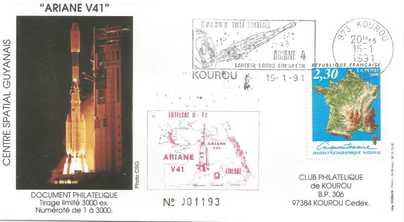 Numérisation 20191222 54 - Kourou (Guyane) Lancement Ariane 4 - 44L – Vol 41 - 15 Janvier 1991 (Enveloppe Club Phila de Kourou) - C5