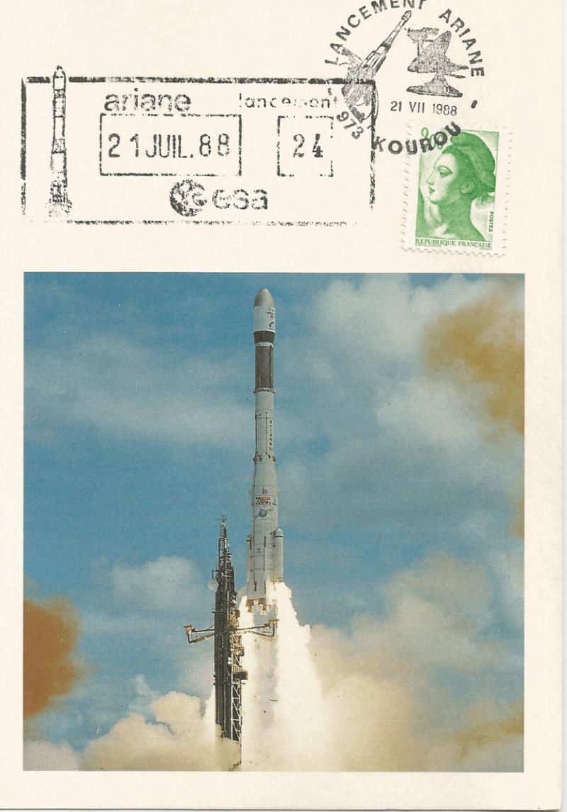 Numérisation 20191222 62 - Kourou (Guyane) Lancement Ariane 3 – Vol 24 - 21 Juillet 1988 (Carte SEP) - C3