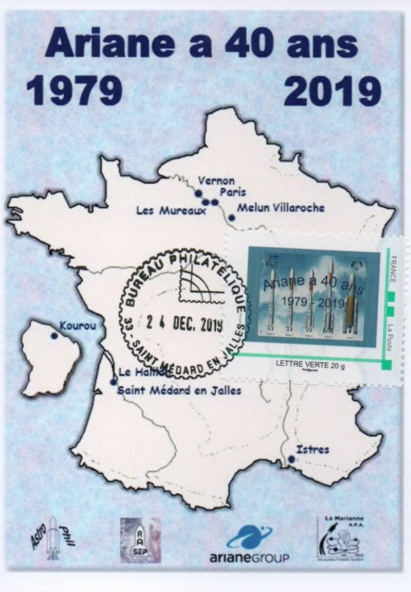 img20200212 18224025 - 40ème Anniversaire du Premier lancement d'Ariane - Oblitération bureau philatélique de Saint Médard en Jalles le 24 Décembre 2019