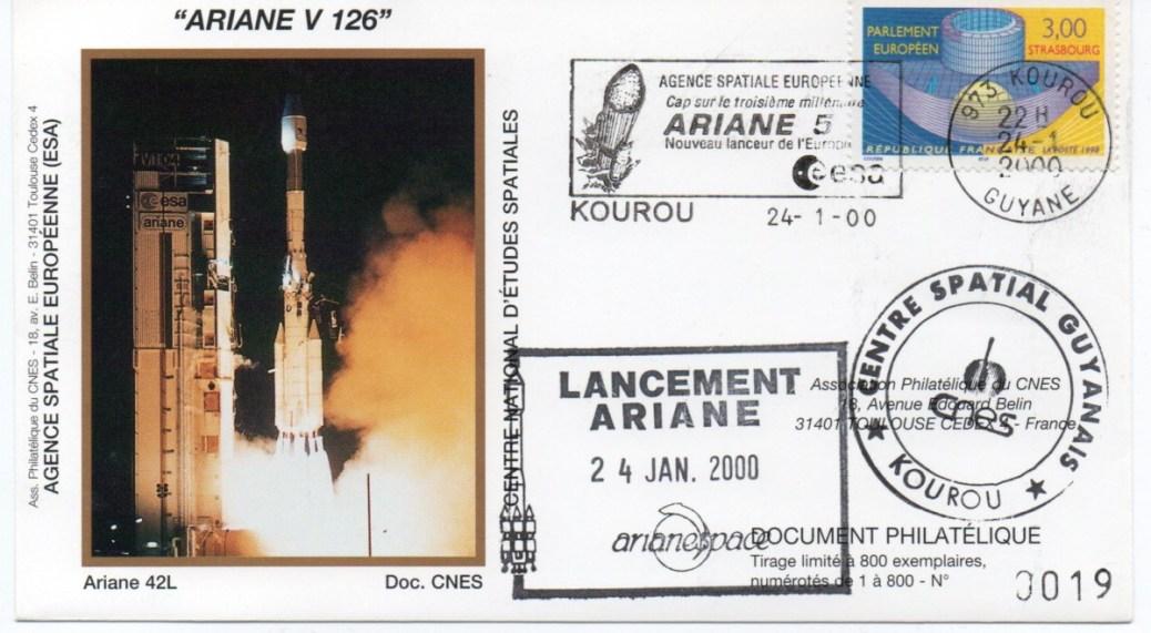 img20200426 18154120 - Kourou (Guyane) Lancement Ariane 4 - 42L – Vol 126 - 24 Janvier 2000 (Enveloppes Club Phila du CNES)