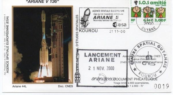img20200426 18221213 - Kourou (Guyane) Lancement Ariane 4 - 44L – Vol 136 - 21 Novembre 2000 (Enveloppes Club Phila du CNES)