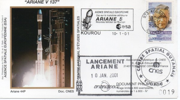 img20200426 18231481 - Kourou (Guyane) Lancement Ariane 4 - 44P – Vol 137 - 10 Janvier 2001 (Enveloppes Club Phila du CNES)