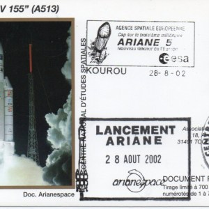 img20200428 17341781 - Kourou (Guyane) Lancement Ariane 5 G – Vol 155 - 28 Aout 2002 (Enveloppes Club Phila du CNES)