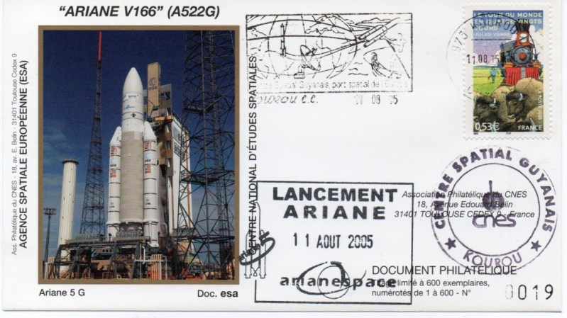 img20200428 17431406 - Kourou (Guyane) Lancement Ariane 5 GS – Vol 166 - 11 Aout 2005 (Enveloppes Club Phila du CNES)