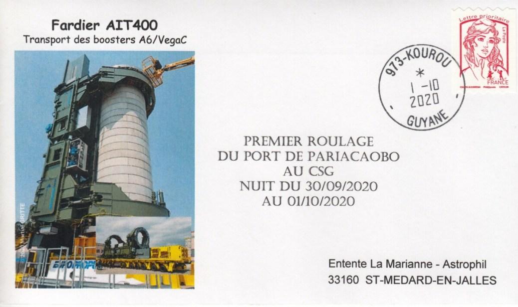 """Enveloppe AIT400 - Ariane 6 - Vega C - 01 Octobre 2020 - Premier roulage du """"Fardier 400"""""""