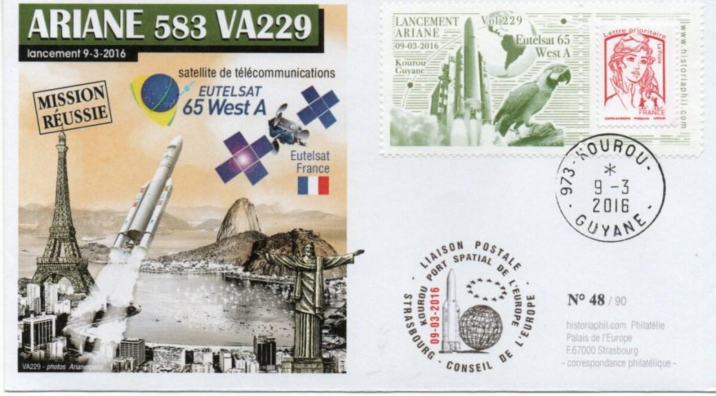 img20210925 11161000 - ARIANE 5ECA VA229 – Kourou 09 Mars 2016 – Enveloppe Conseil de l'Europe – C14