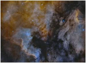 Dominique Dierick - North America and Pelican Nebula in Hydrogen alpha & Oxygen III 2-panel mosaic