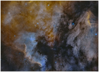 Dominique Dierick - North America and Pelican Nebula in Hydrogen alpha & Oxygen III 2-panel mosaic