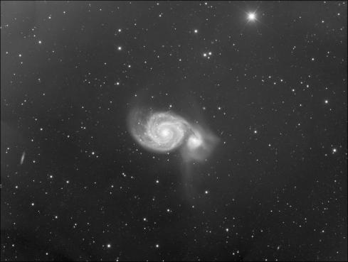 M51 the Whirlpool Galaxy - luminance channel integration. Data is courtesy of André van der Hoeven, Jeroen Moonen, Rob Musquetier & Mabula Haverkamp.