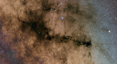 Shown is the Pipe Nebula, which is the huge dark nebula in the shape of a Pipe