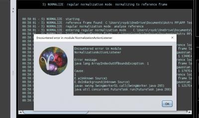 Encountered error in module NormalizationActionListener