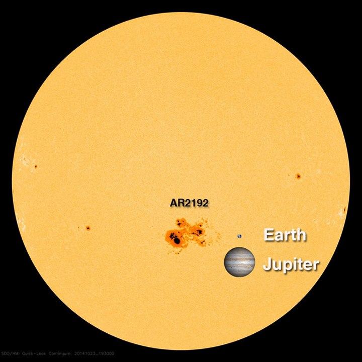 Para efeitos de compreensão, a Solar Dynamics Observatory da NASA, publicou no facebook esta imagem a mostrar a dimensão da RA2192, com Júpiter e a Terra à escola.