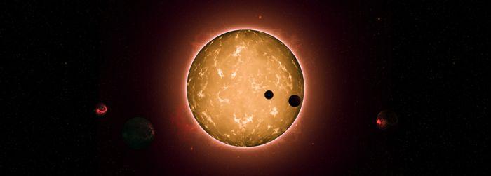 Imagem artística do sistema Kepler-444, com os seus cinco planetas do tipo terrestre, dois dos quais em trânsito. (Crédito: Tiago Campante/Peter Devine)