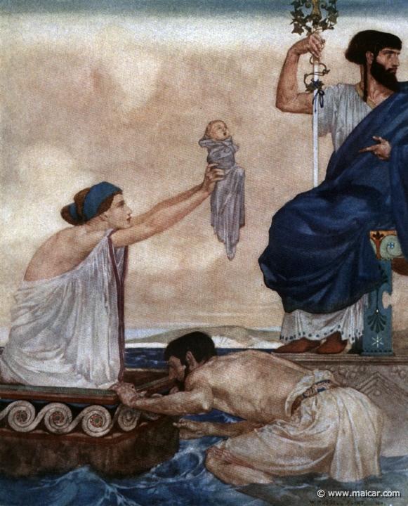 Acrísio indiferente às súplicas de Danae pelo seu filho Perseu. Os dois seriam lançados ao mar numa arca fechada, para uma morte quase certa. William Russell Flint, 1911.