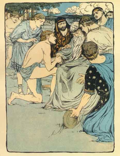 Perseu segura a mão do seu avô, o rei Acrísio, depois de acidentalmente o ter atingido com um disco.