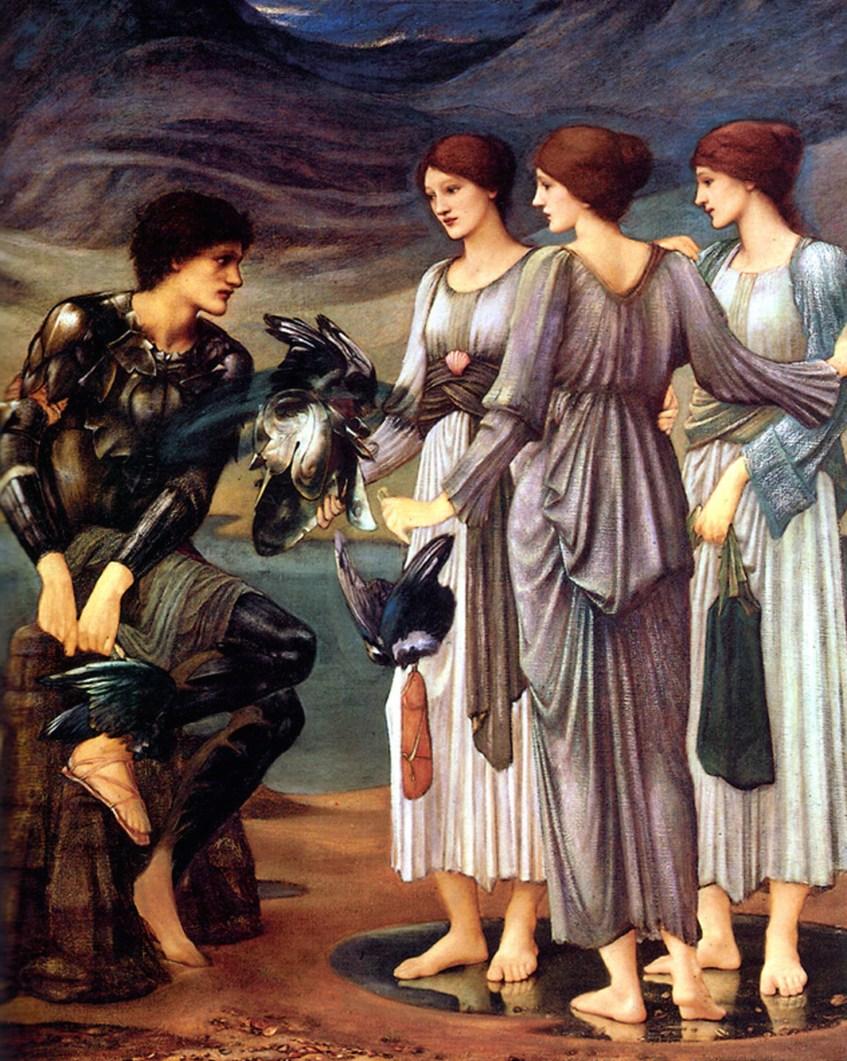 As Hespérides fornecem a Perseu o aparato com que vai enfrentar a perigosa campanha com que se comprometeu. Edward Burne Jones, 1885.