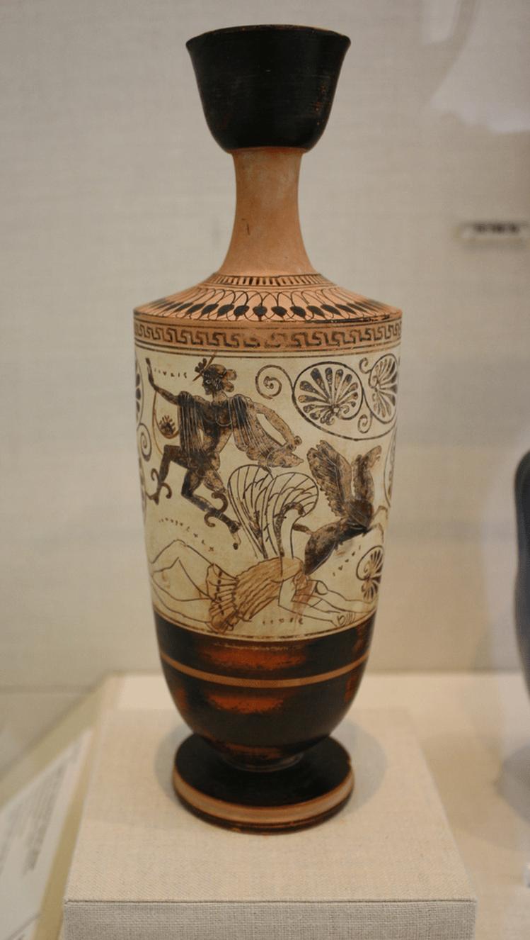Perseu escapa com a cabeça da Medusa depois de a ter decapitado. Do sangue que jorra do pescoço da górgona nasce Pégaso, o cavalo alado.