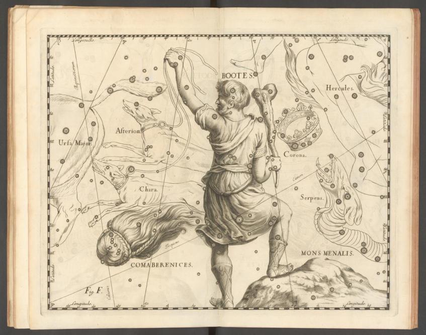 Arcas, o filho de Zeus e da ninfa Calisto, representado na constelação do Boieiro (Bootes). Johannes Hevelius, Uranographia, 1690.