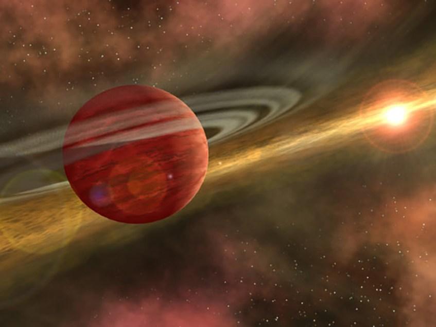 Ilustração artística do exoplaneta super-Júpiter. Crédito: NASA / JPL-Caltech.