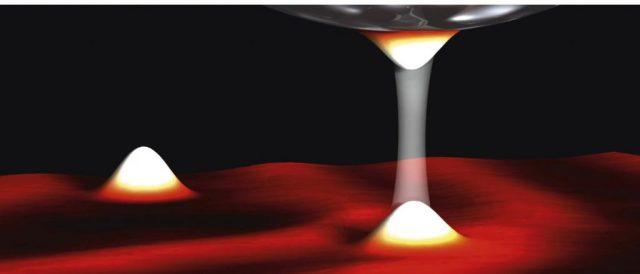 Uma corrente de túnel (ilustrada pela barra transparente) flui entre uma ponta ultrafina e a amostra, fornecendo informações sobre as propriedades da amostra. A estas baixas temperaturas, a corrente de tunelamento revela todas as suas propriedades quânticas. Crédito: Max Planck Institute para a pesquisa do estado sólido.