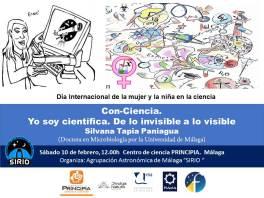 """Cartel de la charla """"Con-ciencia: yo soy científica. De lo invisible a lo visible"""""""