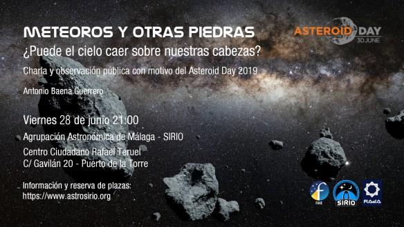 Cartel de la actividad del Asteroid Day 2019 en Málaga de la Agrupación Astronómica de Málaga - Sirio