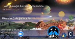 Astrobiología. La vida en el Universo (cartel de la Charla)