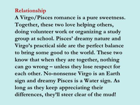 pisces virgo romance