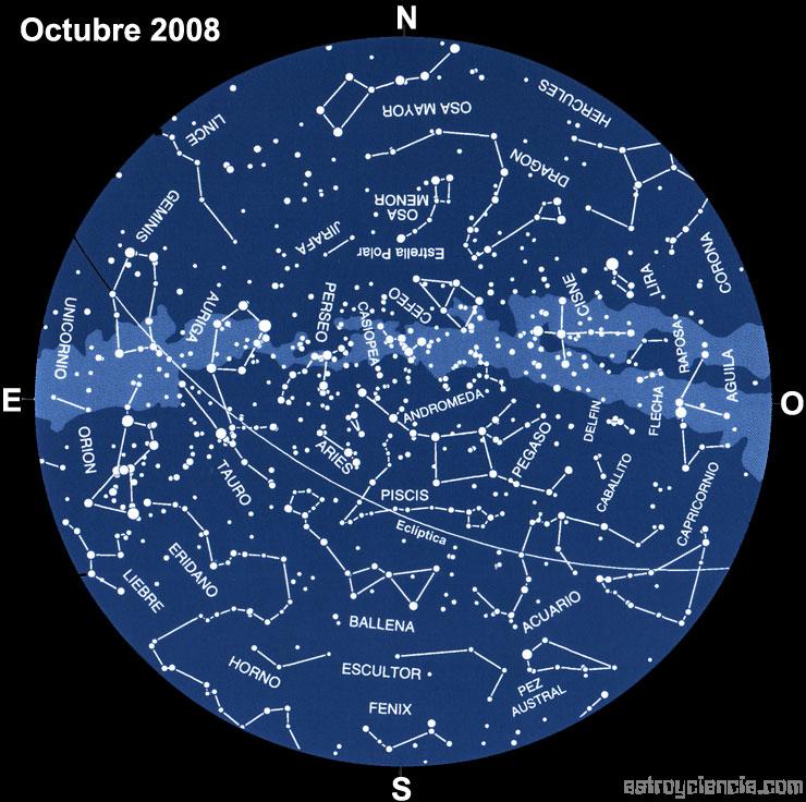 Planisferio del mes de Octubre de 2008