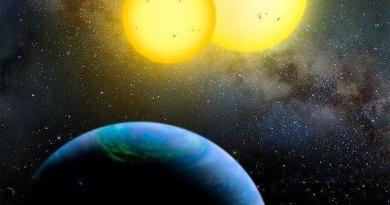 Recreación artística de Kepler-35b, orbitando dos estrellas