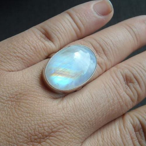 Buy Rainbow Moonstone Ring Large Oval Moonstone Sterling