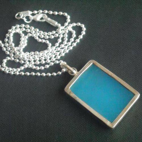 Buy Rectangle Chalcedony Pendant Chalcedony Necklace