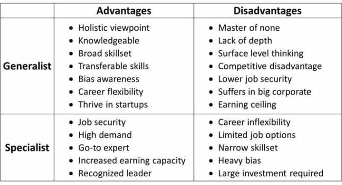 Advantages and disadvantages of generalist and specialist
