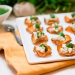 Baked Sweet Potato Chips with Cilantro Pesto