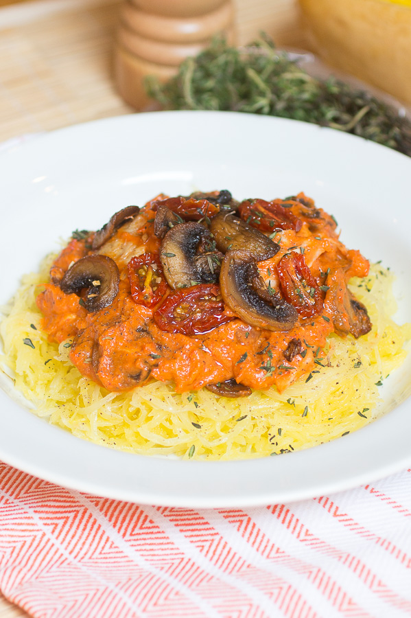 Spaghetti Squash with Roasted Red Pepper Sauce