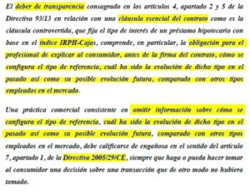 Extracto del Informe de la Comisión Europea en la cuestión prejudicial planteada por el JPI 38 de Barcelona, C-125-18, sobre el IRPH.