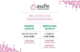 IRPH: Convocatoria de ASUFIN para los afectados en dos sesiones informativas en Madrid y Barcelona